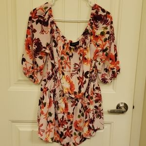 Lane Bryant Floral Smocked Waist Off the Shoulder